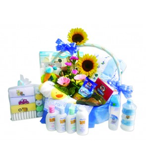 Flower & New Born Baby Gift Basket.