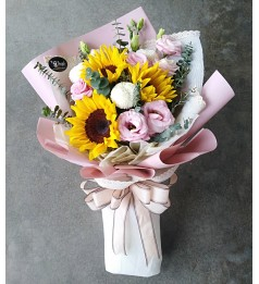 Sunflower and Ping Pong Hand Bouquet