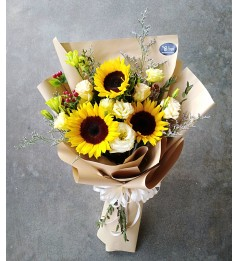 Eustoma and Sunflower hand bouquet