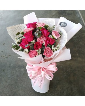 Carnations and Roses Hand Bouquet