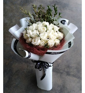 White Roses Hand Bouquet