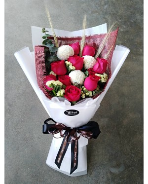 Red Roses and White Ping Pong Hand Bouquet