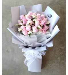 Pink Roses Hand Bouquet