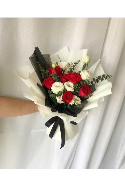Love Yourself Red Roses and White Eustoma Bouquet