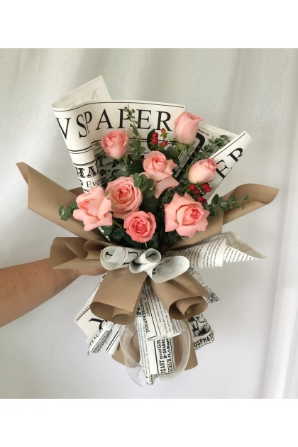 News Paper Pink Roses Hand Bouquet