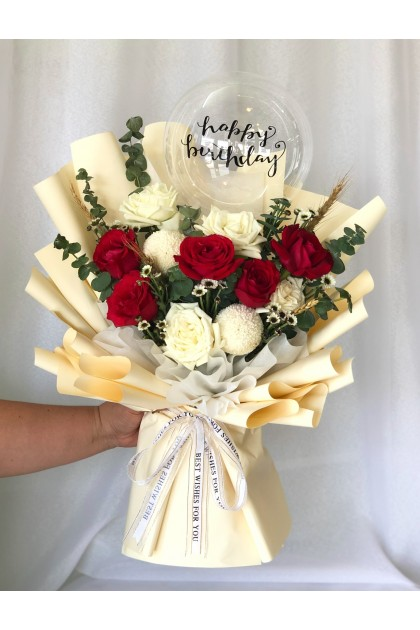 Merilyn Red Roses and Personalized Balloon Bouquet