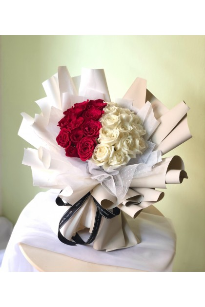 Bello Red and White Roses Round Bouquet